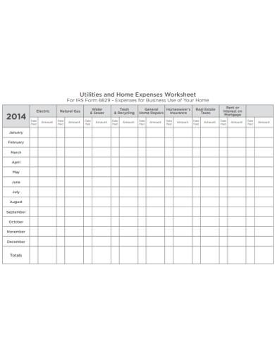 home expenses worksheet