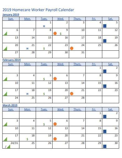 homecare worker payroll calendar
