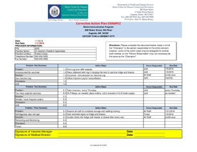 immunization corrective action plan