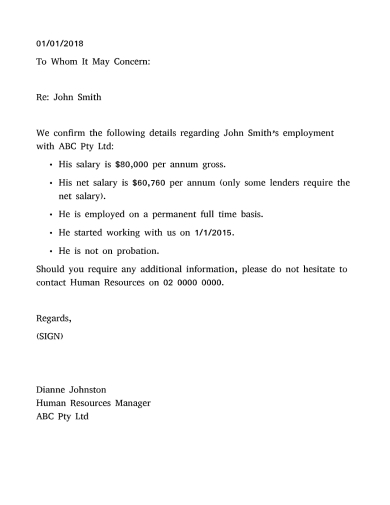 income verification letter for employment sample