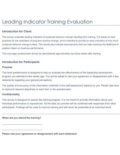 indicator training evaluation