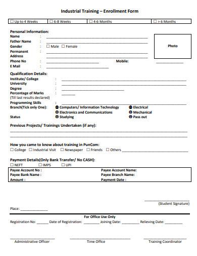 industrial training enrollment form