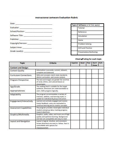 instructional software evaluation
