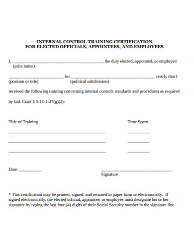 internal control training certificate example