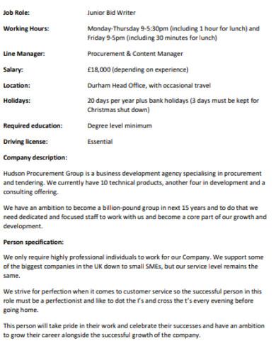 job bid junior writer
