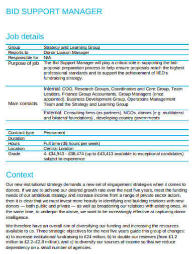 job bid support manager