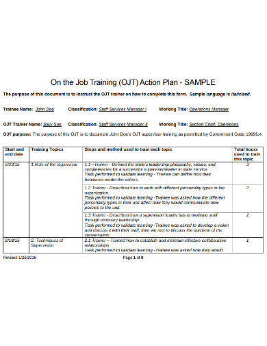 job training action plan example