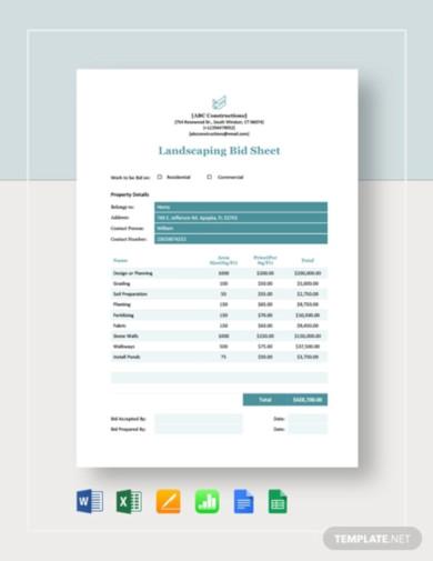 landscaping bid sheet template
