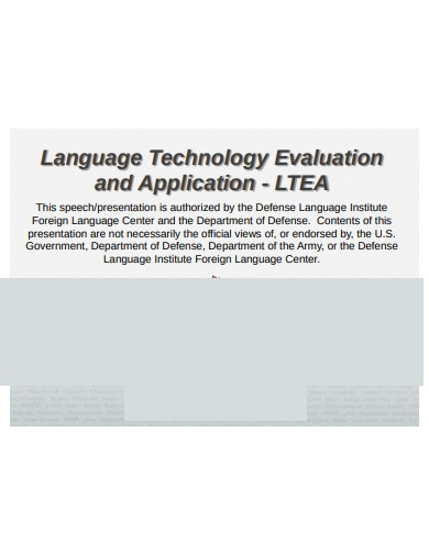 language technology evaluation and application