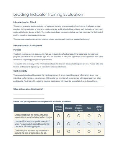 leading indicator training evaluation