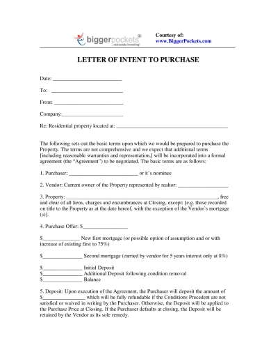 letter of intent for purchase of residential land property