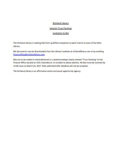 library interior painting invitation bid in pdf