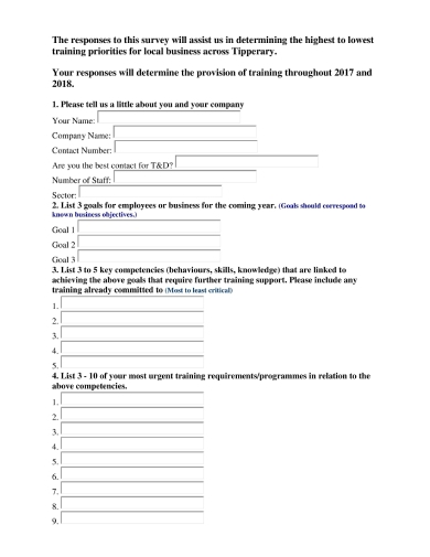 local business survey and questionnaire writing