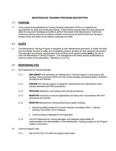 maintenance training program