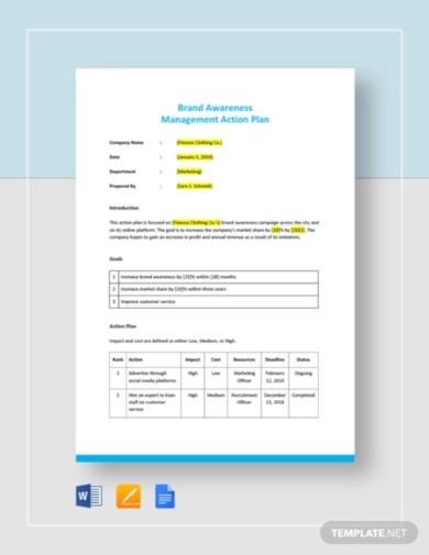 management action plan template