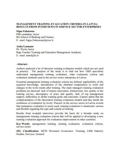 management training evaluation