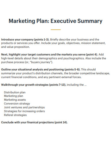 marketing plan executive summary excample