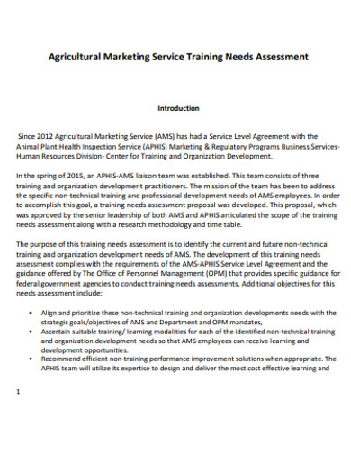 marketing service training needs assessment