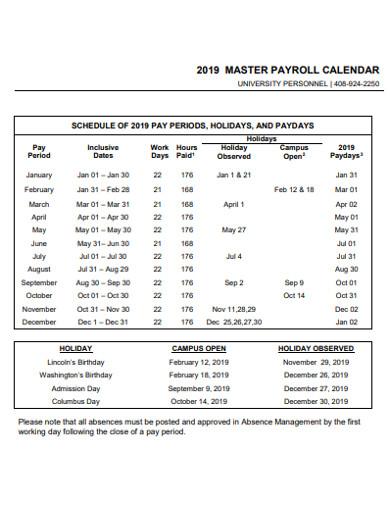 master payroll calendar example