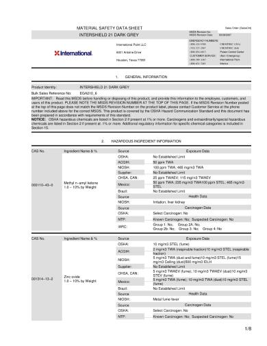 material data sheet