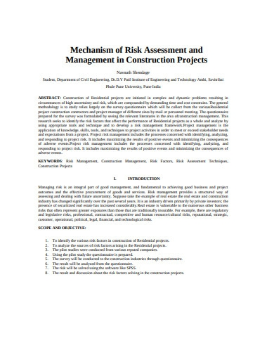 mechanism of risk assessment in construction