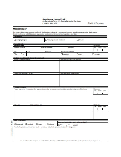 medical expenses report form