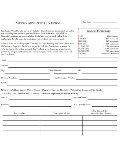 metro absentee bid form