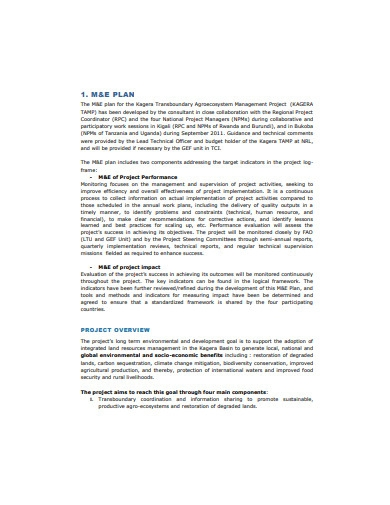 monitoring and evaluation plan example