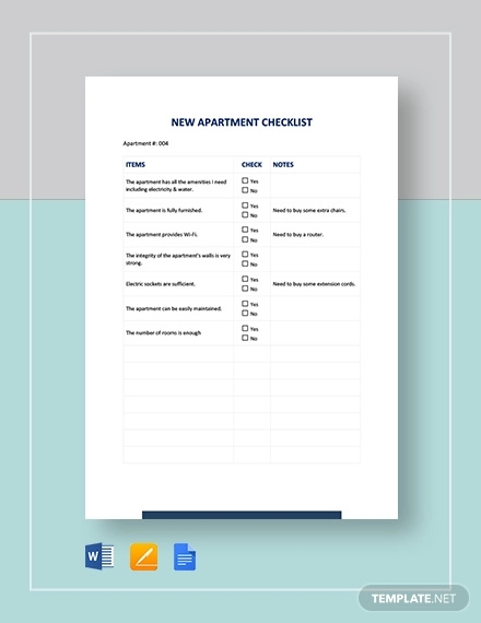 new apartment checklist template