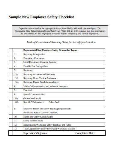 new employee safety checklist