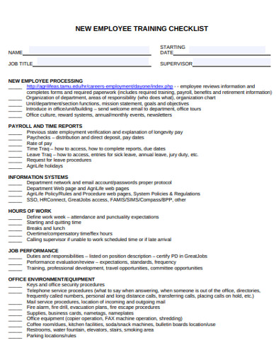 new employee training checklist examples