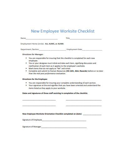 new employee worksite checklist