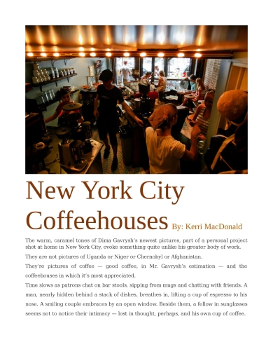 new york city coffeehouses