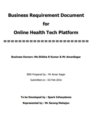 online business requirements document