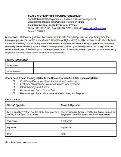 operator training checklist example