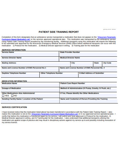 patient side training report