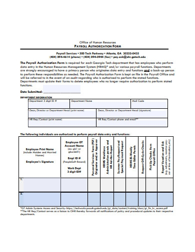 payroll authorization form example