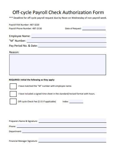 payroll check authorization form