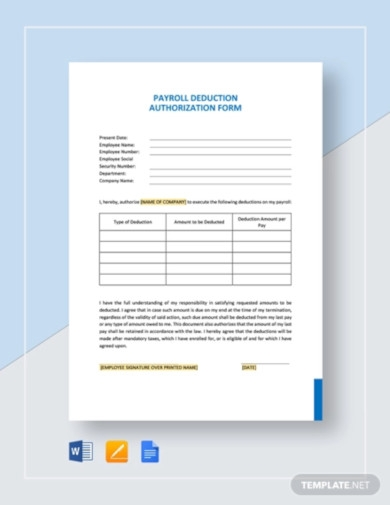payroll deduction authorization form template1