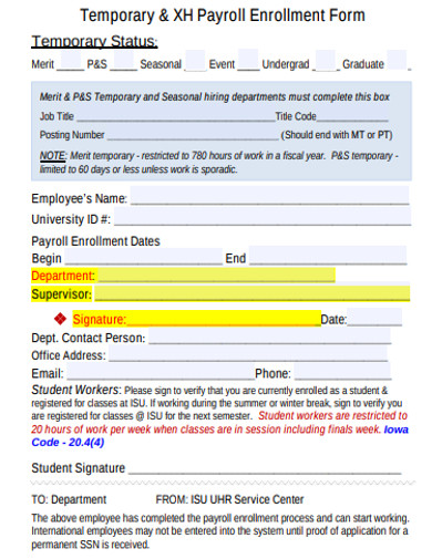 payroll enrollment form example
