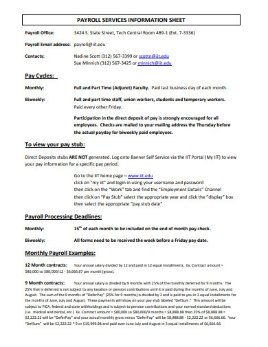 payroll services information sheet