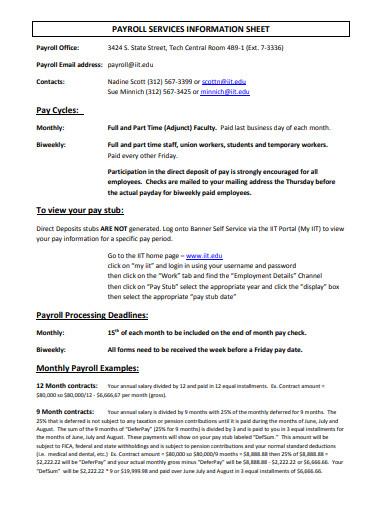 payroll services information sheet