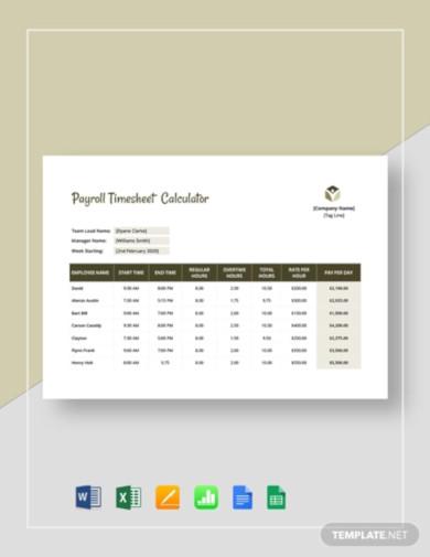 payroll timesheet calculator template