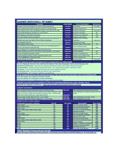 payroll tip sheet