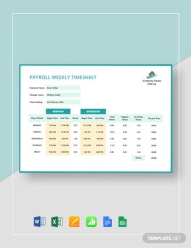 payroll weekly timesheet template
