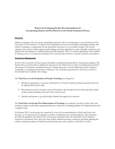 policies for evaluating faculty