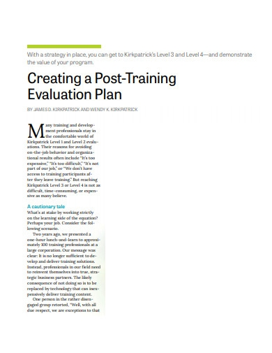 post training evaluation plan