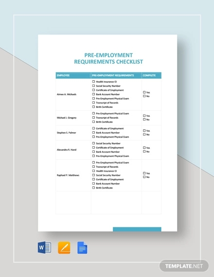 12+ Pre-Employment Checklist Examples - PDF, Word | Examples
