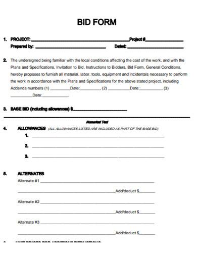 printable bid form