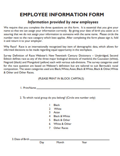 printable employee information form example